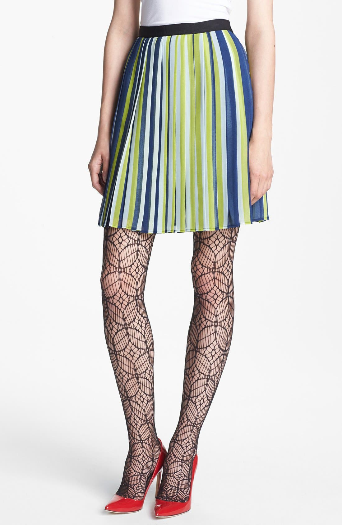 Main Image - Miss Wu Stripe Pleated Chiffon Skirt (Nordstrom Exclusive)