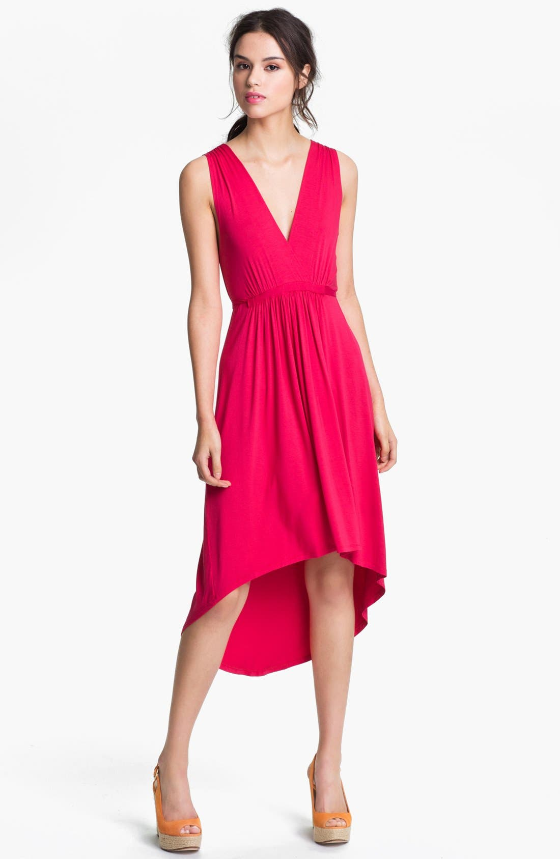 Main Image - Felicity & Coco Pleated High/Low Dress (Petite) (Nordstrom Exclusive)