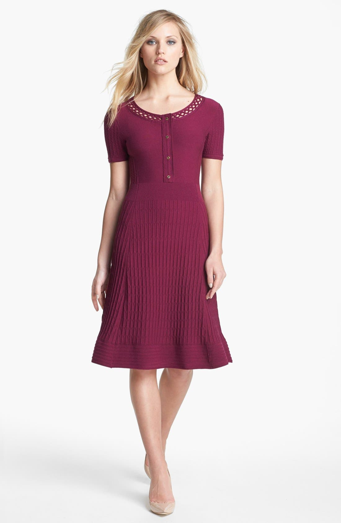 'Ashlyn' Merino Wool Blend Sweater Dress,                             Main thumbnail 1, color,                             Washed Red Wine