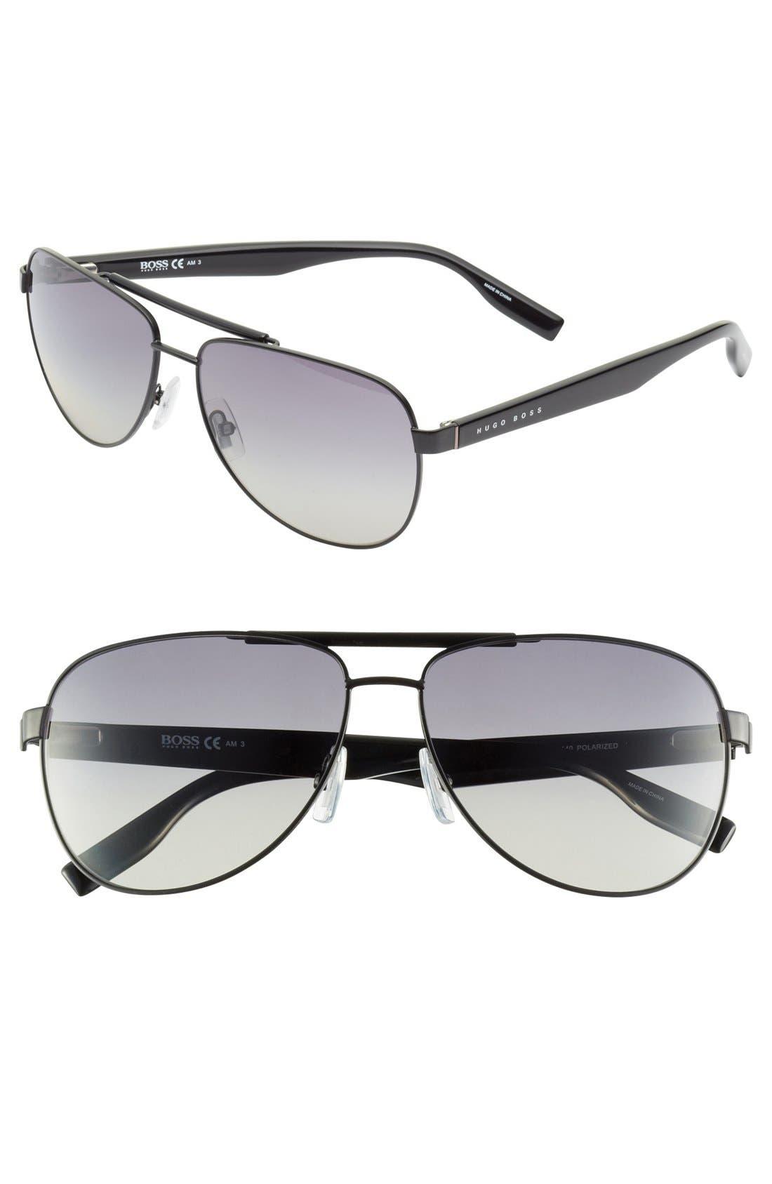 Alternate Image 1 Selected - BOSS HUGO BOSS 60mm Polarized Aviator Sunglasses