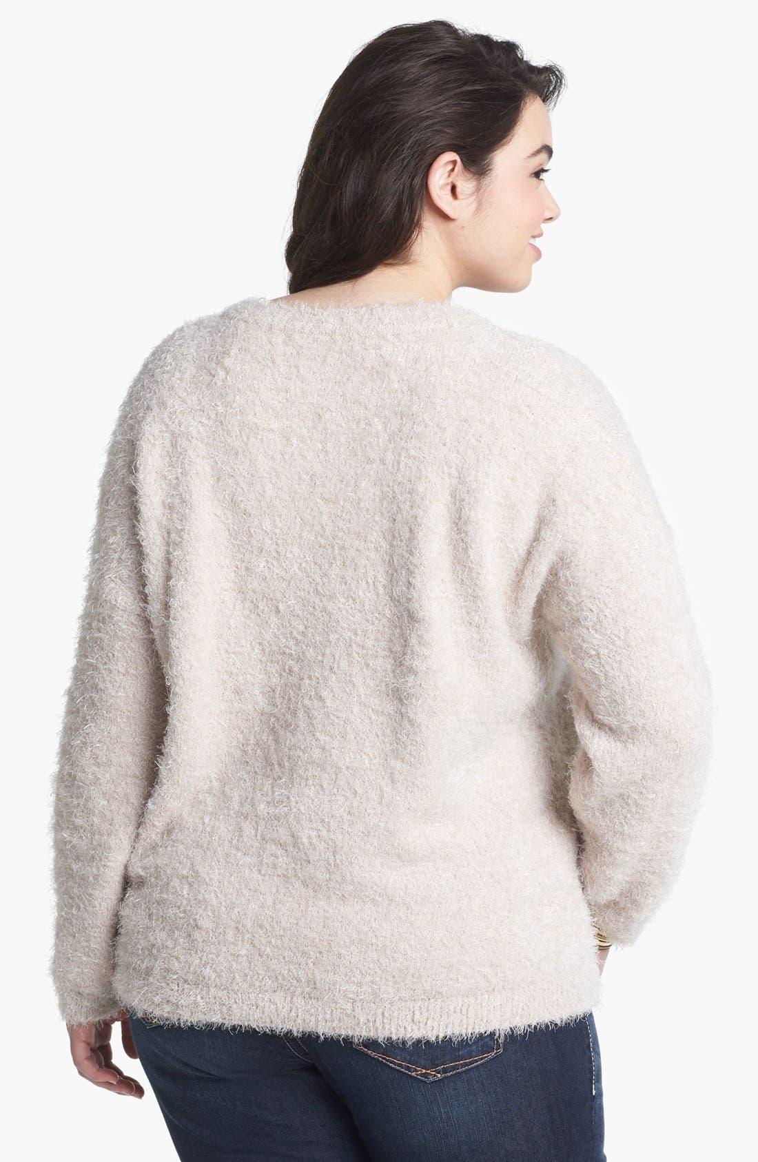 Alternate Image 2  - Love By Design Tiger Eyelash Sweater (Juniors Plus)