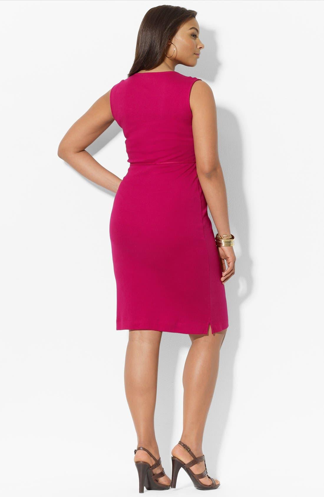 Alternate Image 2  - Lauren Ralph Lauren Woven Trim Cotton Dress (Plus Size)