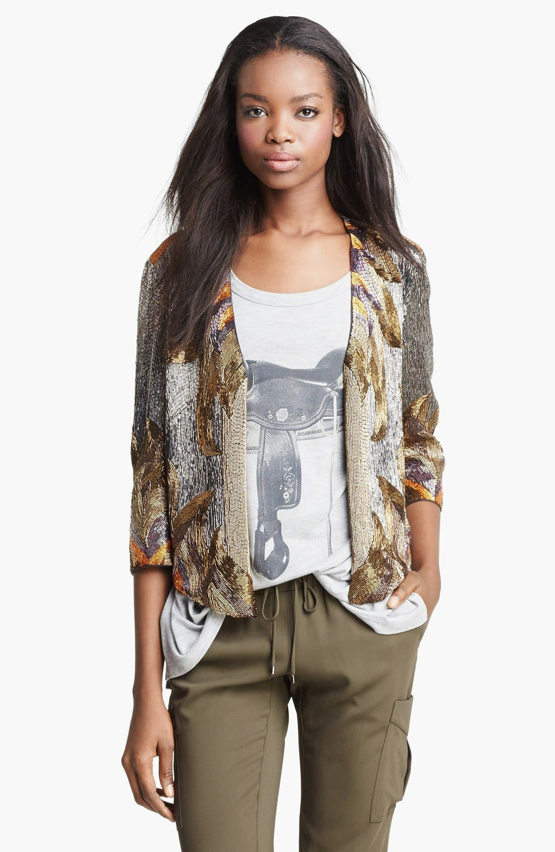 Alternate Image 1 Selected - Haute Hippie 'Fire' Bead Embellished Silk Jacket