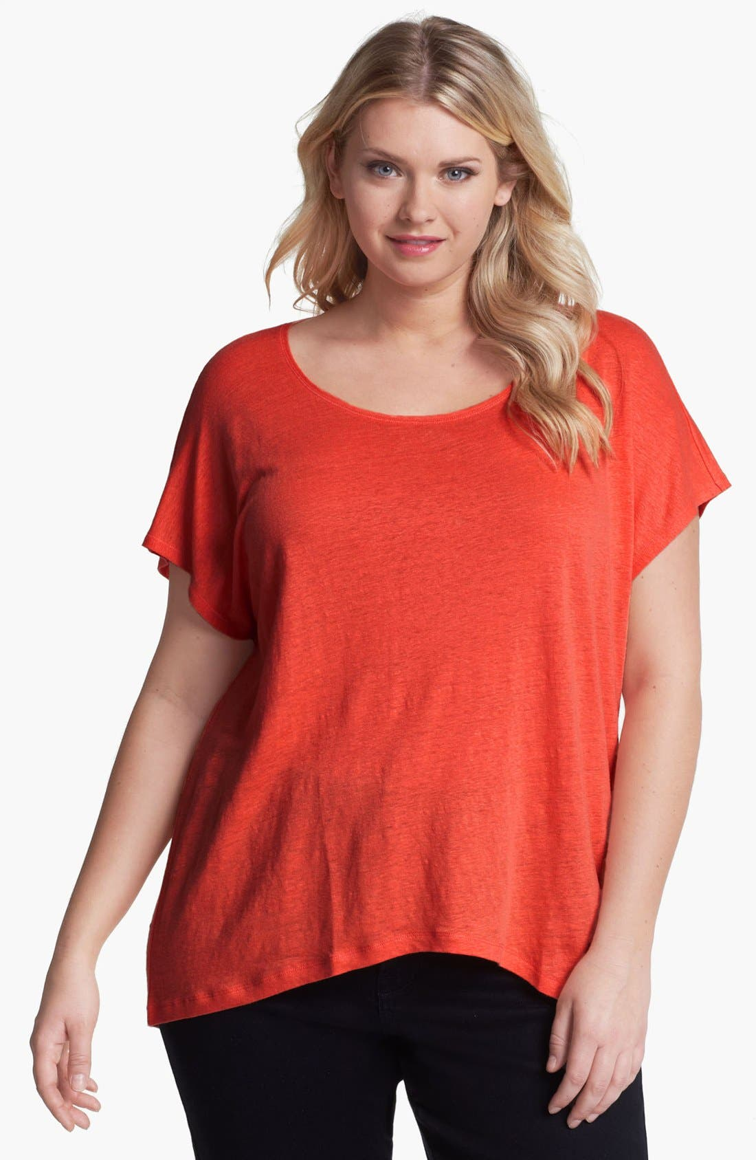 Alternate Image 1 Selected - Eileen Fisher Scoop Neck Tee (Plus Size)
