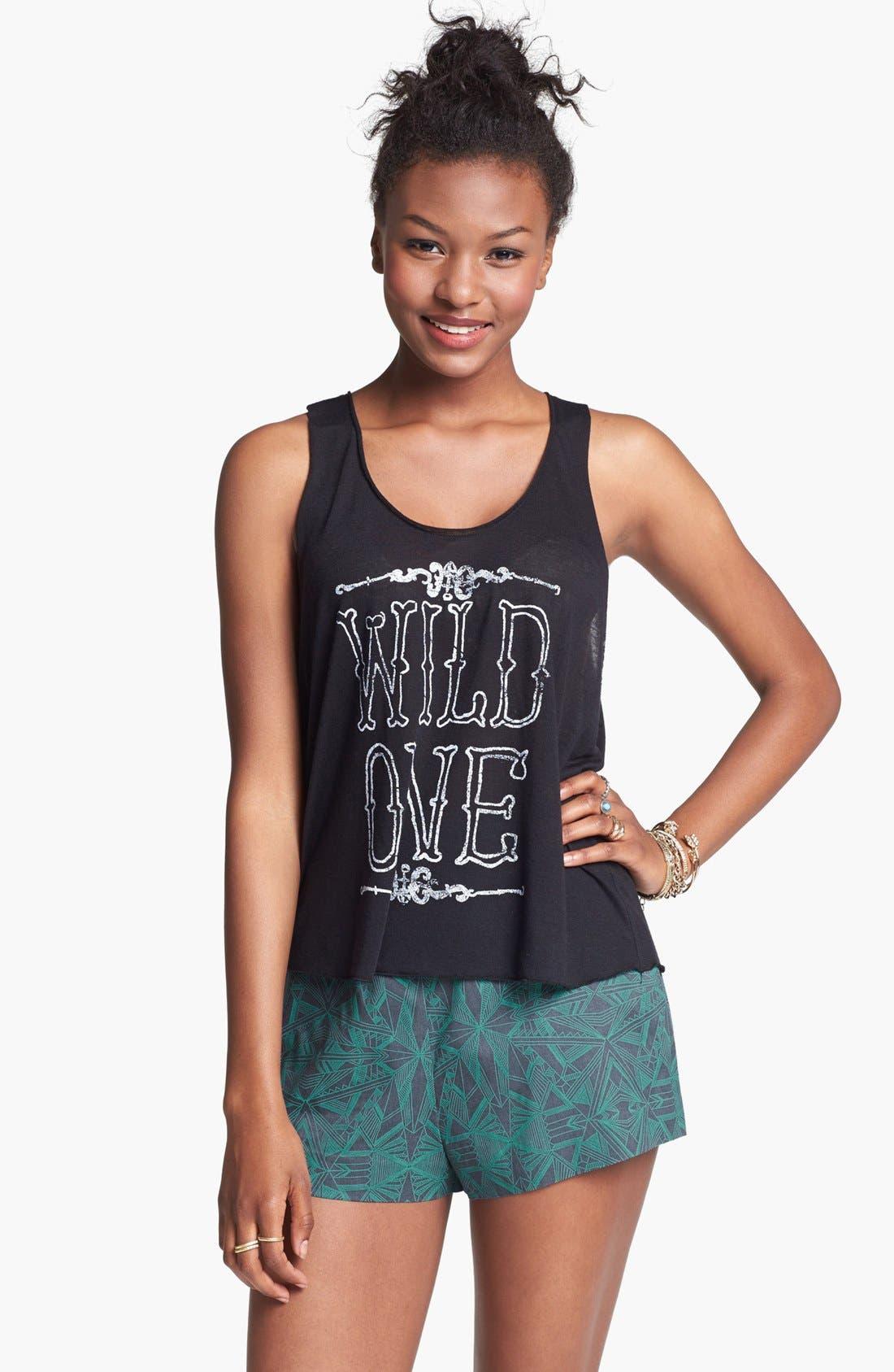 Main Image - BP. High Waist Print Shorts (Juniors)