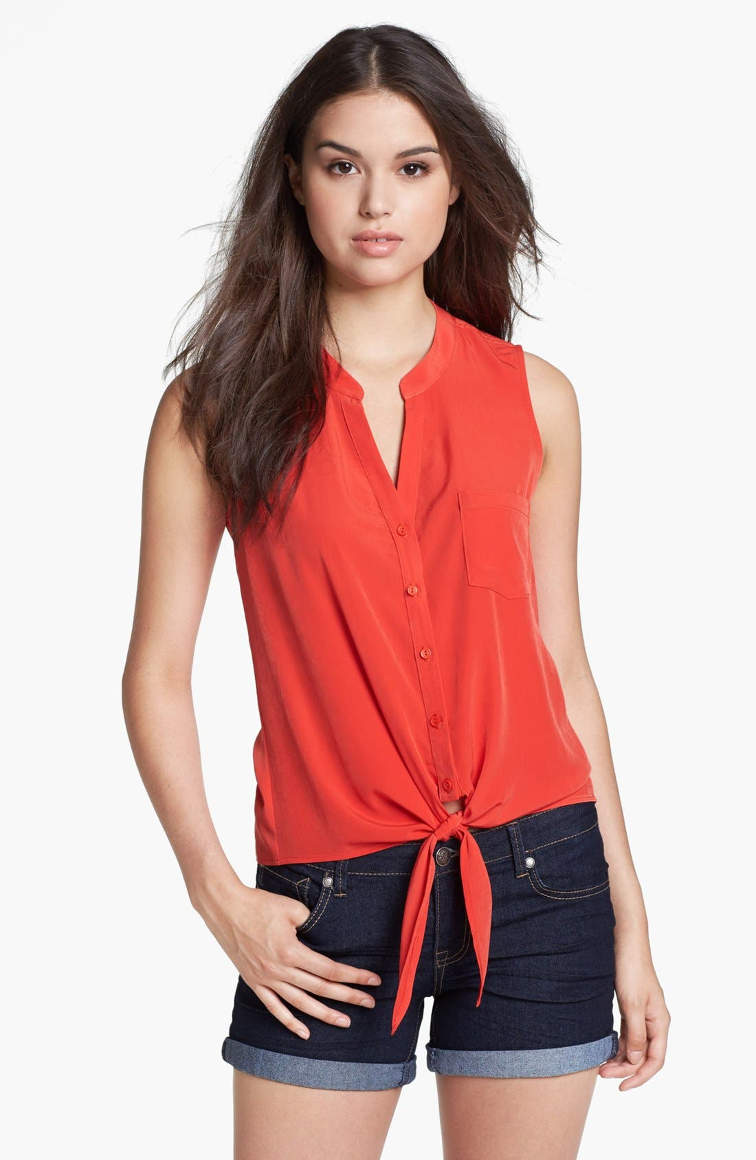 Sleeveless Tie Front Blouse,                         Main,                         color, Red