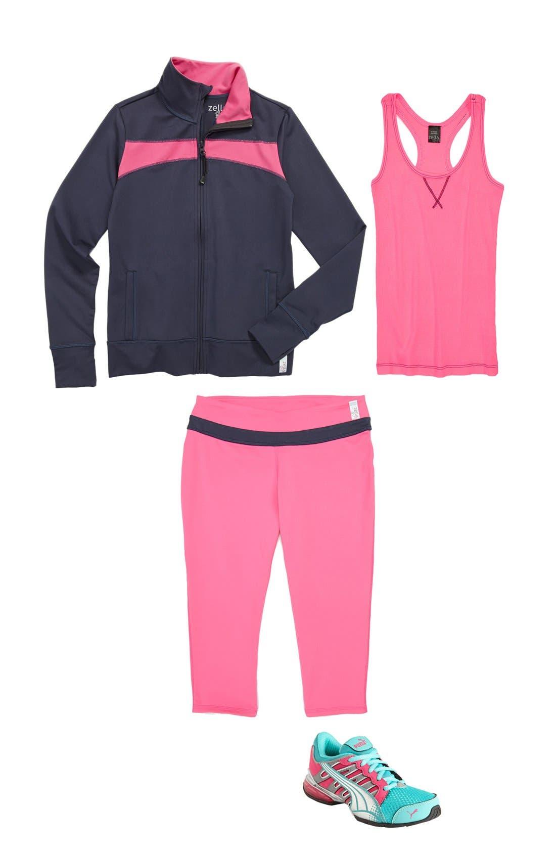 Main Image - Zella Girl Jacket, Tank & Capri Pants (Little Girls & Big Girls)