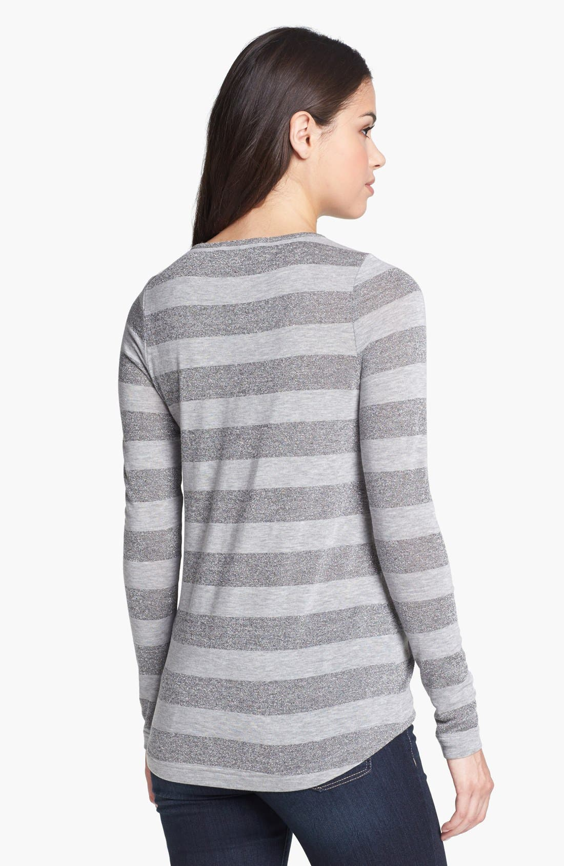 Alternate Image 2  - Two by Vince Camuto Metallic Stripe Tee