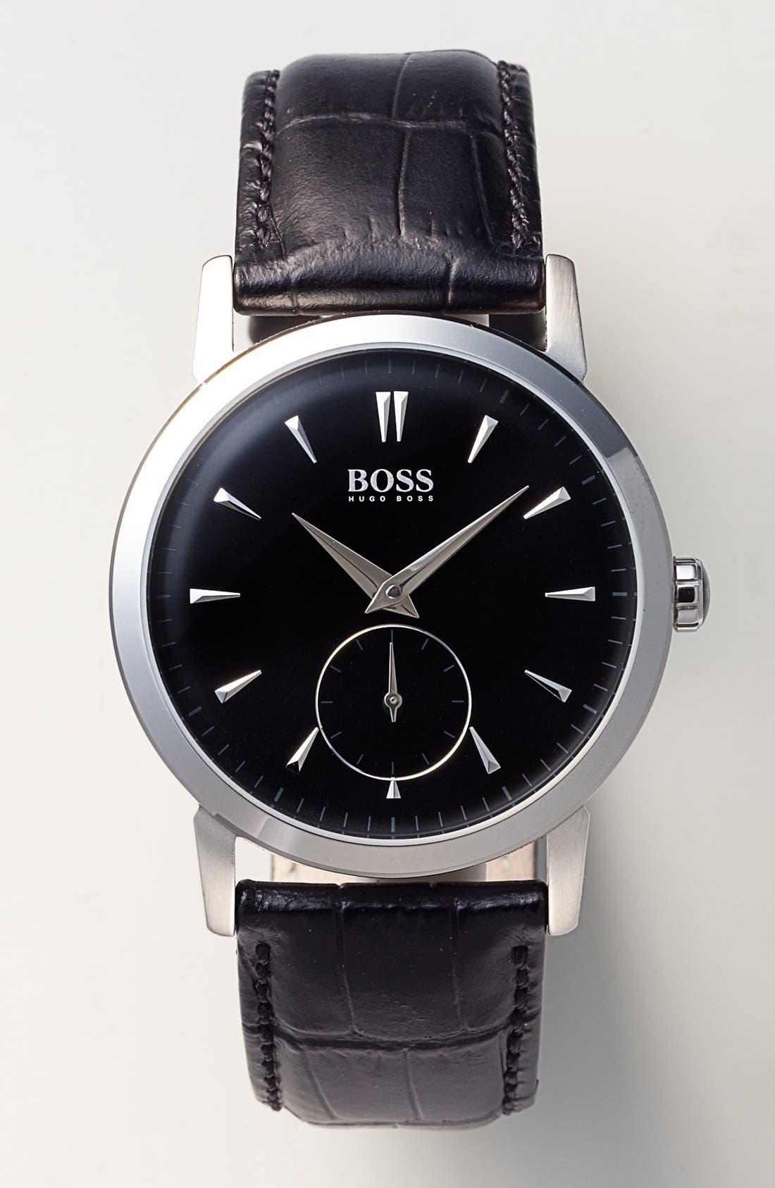 Alternate Image 3  - BOSS HUGO BOSS Round Leather Strap Watch, 40mm