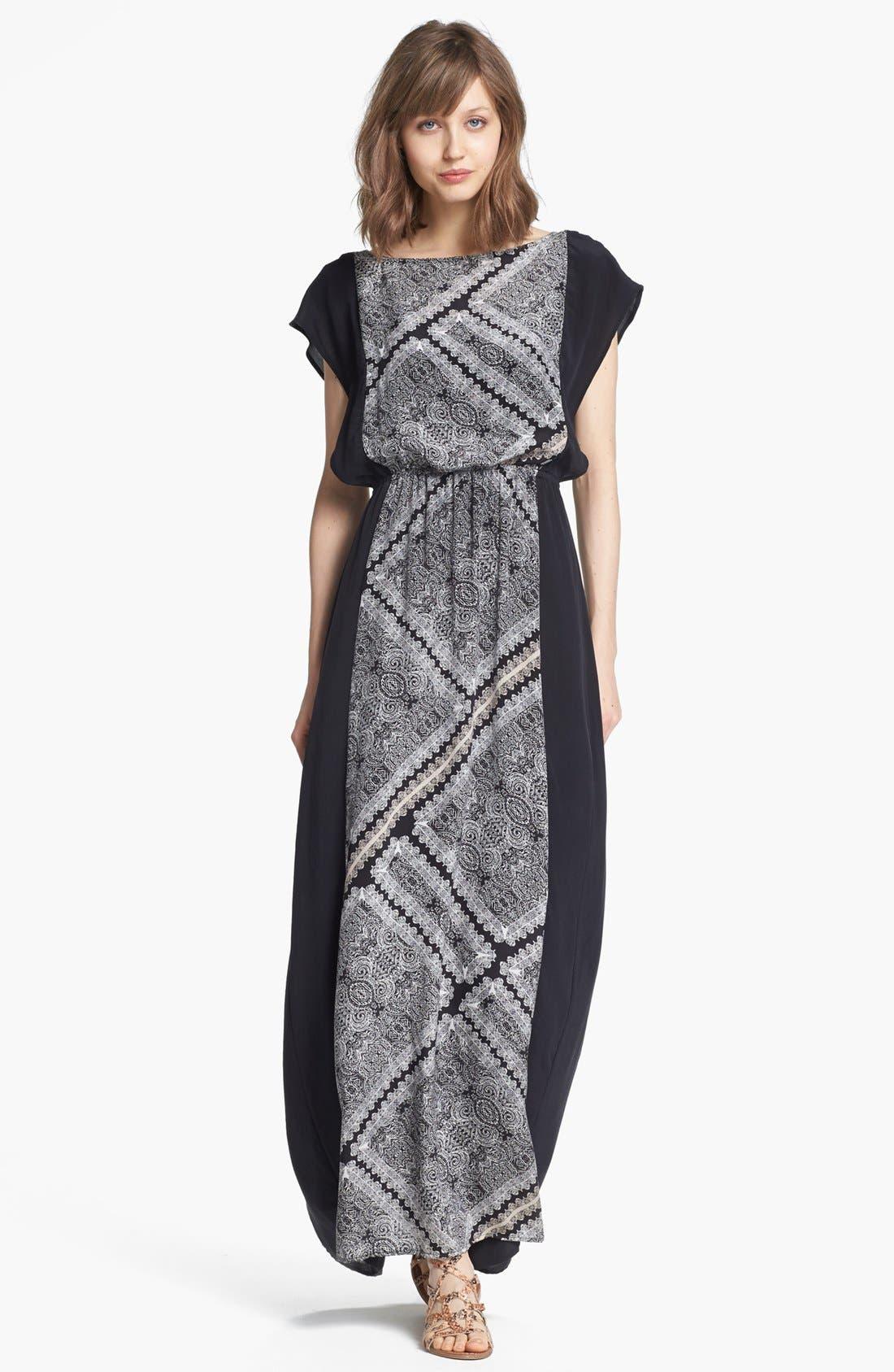 Alternate Image 1 Selected - Ella Moss Print Panel Maxi Dress
