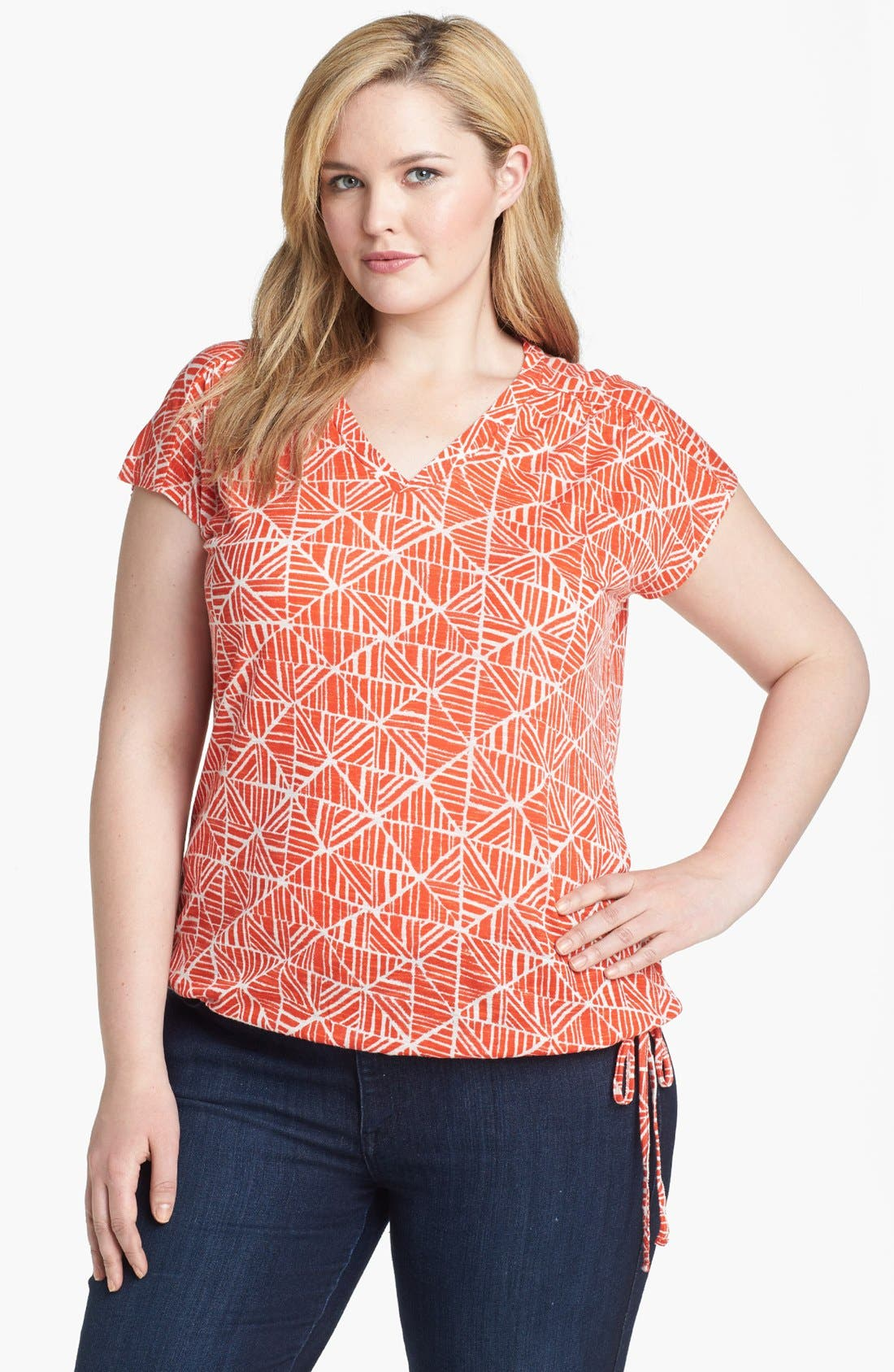 Alternate Image 1 Selected - Lucky Brand 'Mosaic Tile' Print Tee (Plus Size)