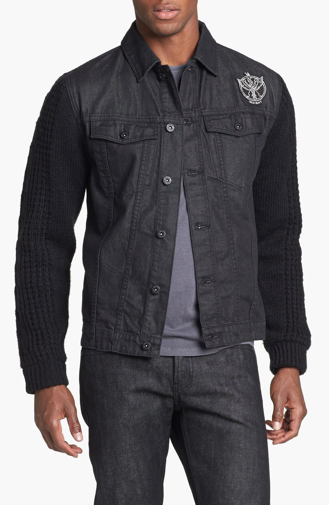 Alternate Image 1 Selected - Insight 'Revival' Denim Jacket with Knit Sleeves