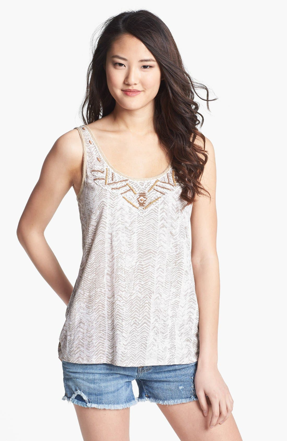Alternate Image 1 Selected - Lucky Brand 'Nalani' Beaded Print Tank
