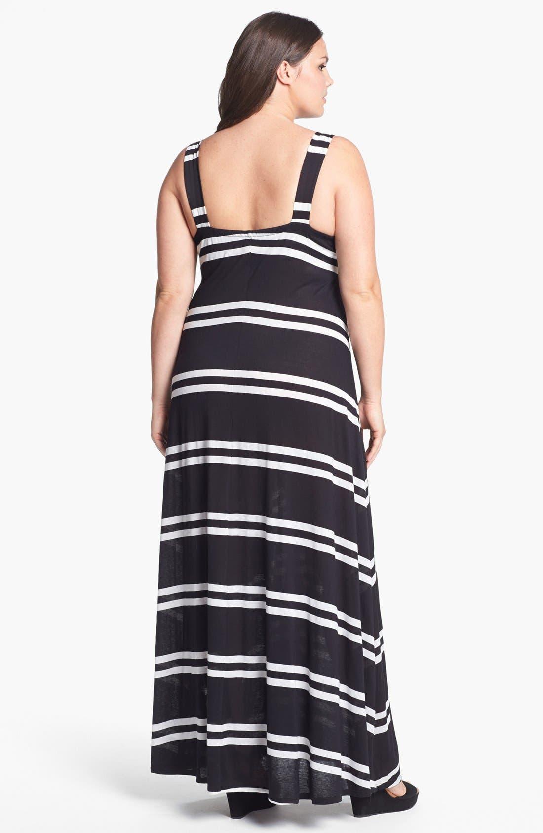 Alternate Image 2  - Eight Sixty Stripe Jersey Maxi Dress (Plus Size)