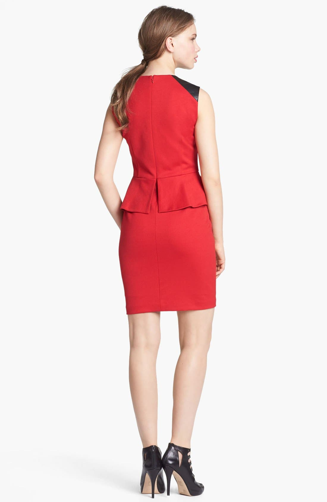 Alternate Image 2  - Vince Camuto Faux Leather Shoulder Detail Peplum Dress