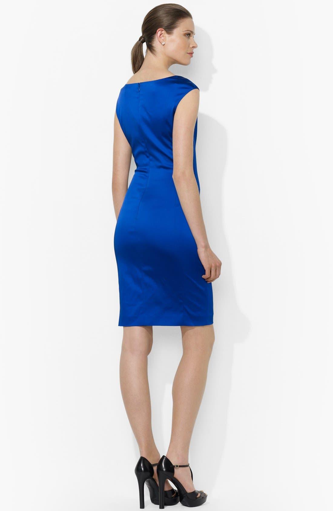 Alternate Image 2  - Lauren Ralph Lauren Side Pleat Satin Sheath Dress