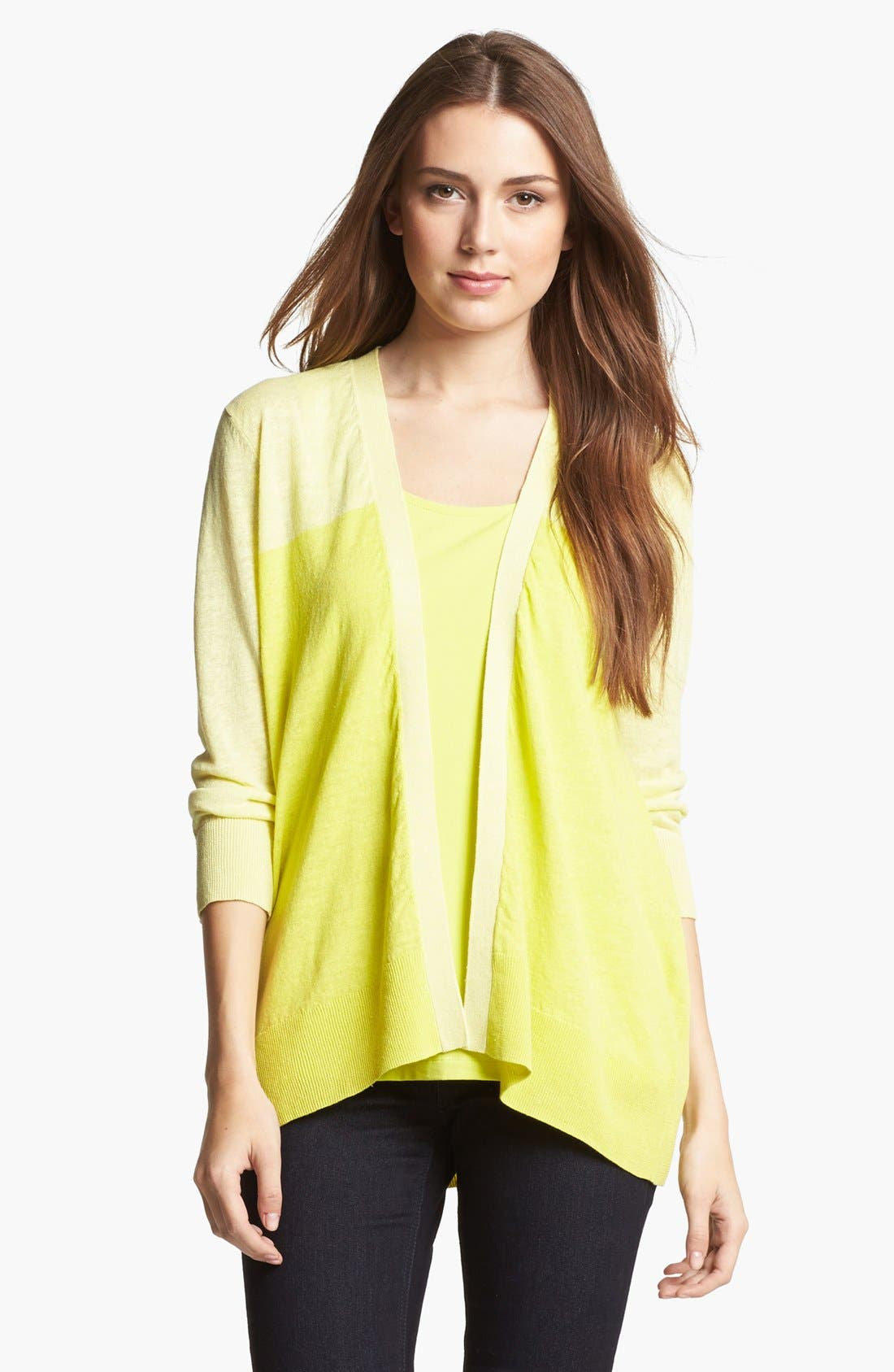 Alternate Image 1 Selected - Amber Sun Colorblock Linen & Cotton Cardigan
