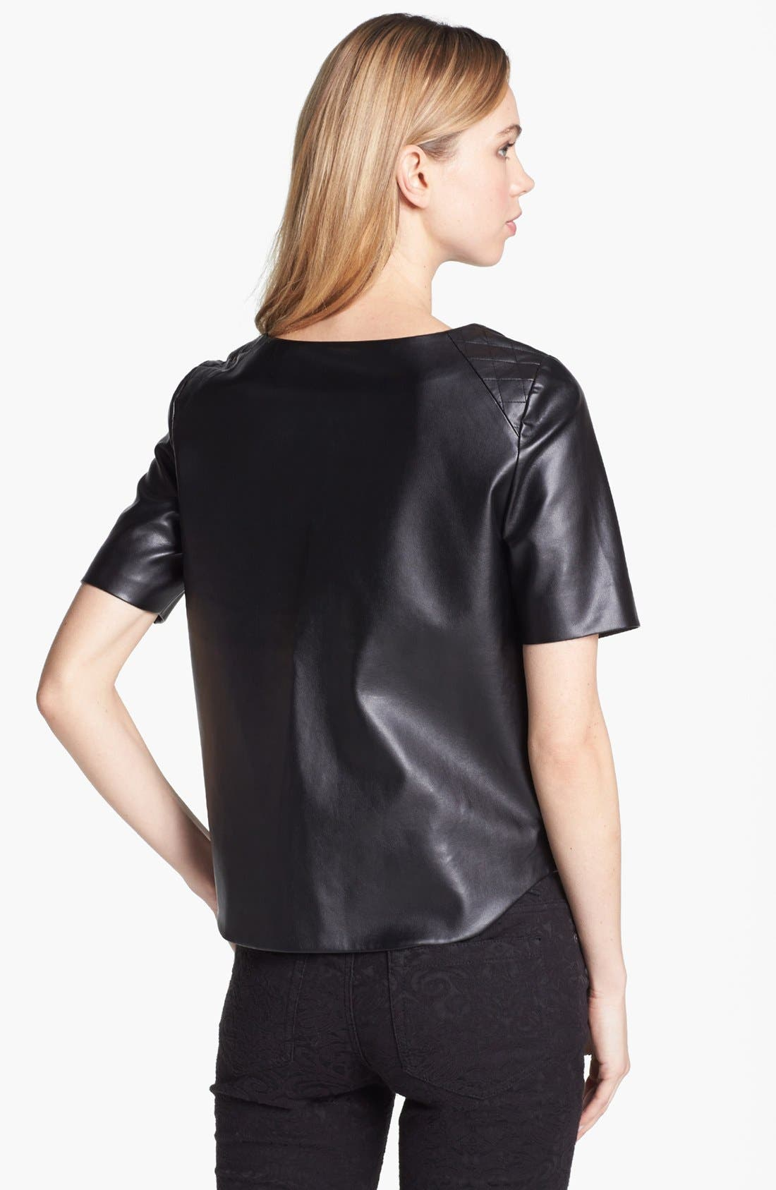 Alternate Image 2  - Vince Camuto Quilted Shoulder Faux Leather Top