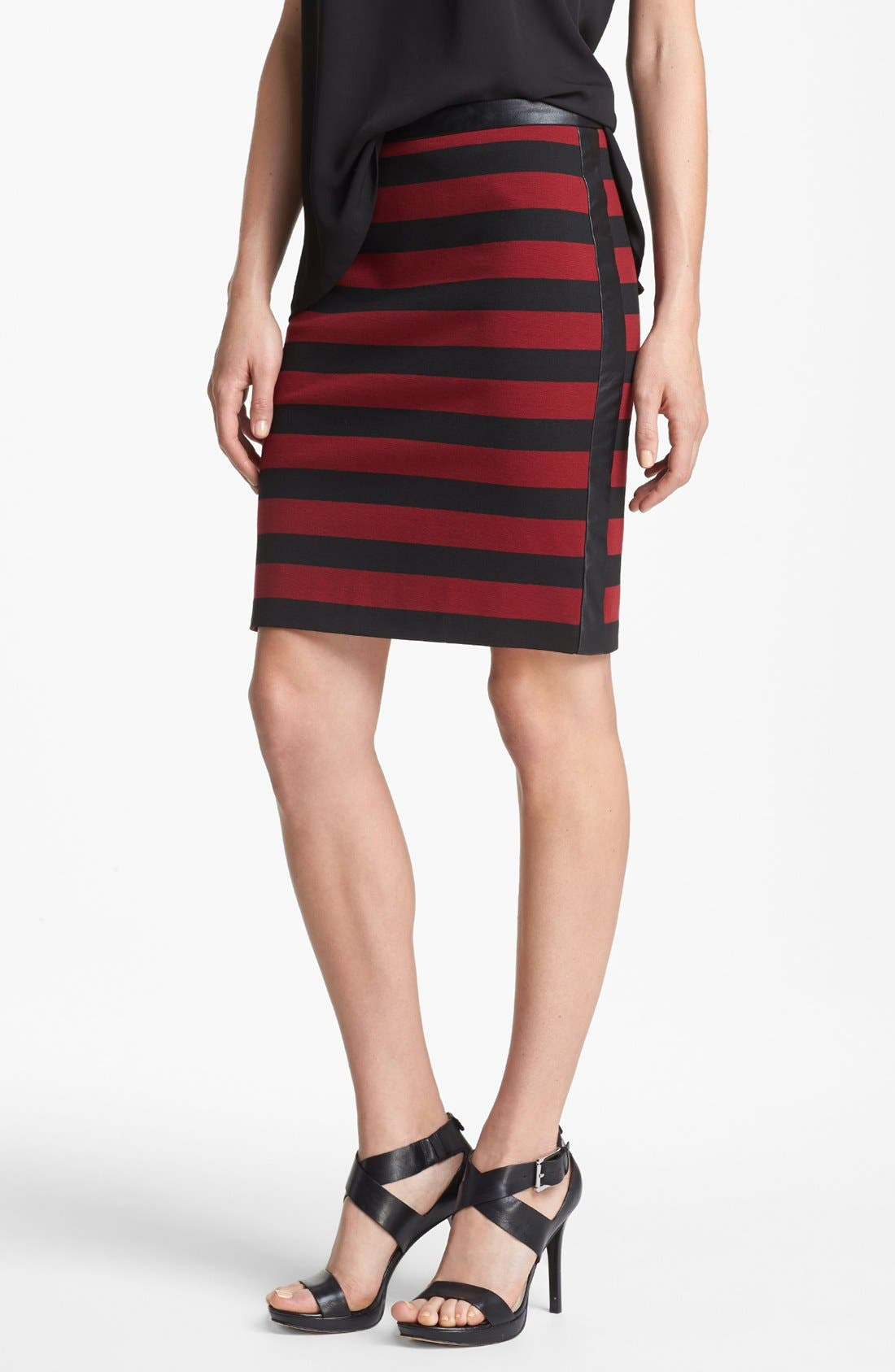 Faux Leather Trim Stripe Pencil Skirt,                             Main thumbnail 1, color,                             Rhubarb