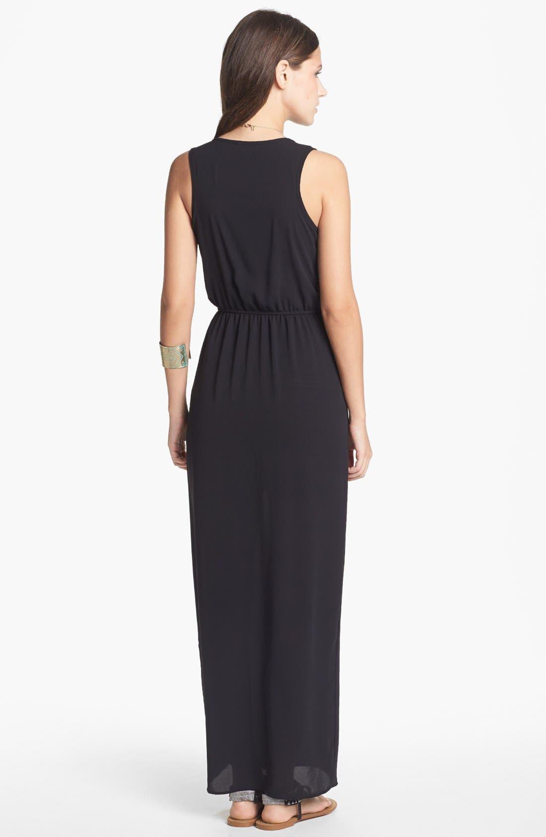 Alternate Image 2  - dee elle Side Slit Maxi Dress with Skirt (Juniors) (Online Only)