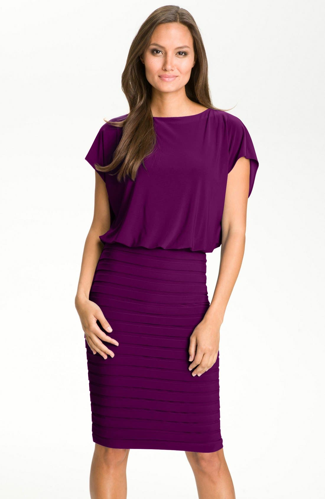 Main Image - Adrianna Papell Pleated Jersey Blouson Dress