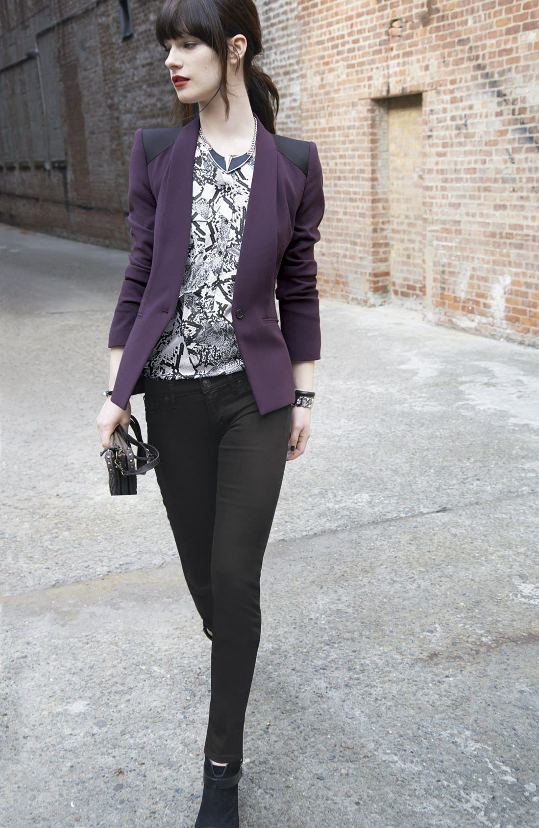 Main Image - Trouvé Blazer, Blouse & Hudson Jeans Skinny Jeans