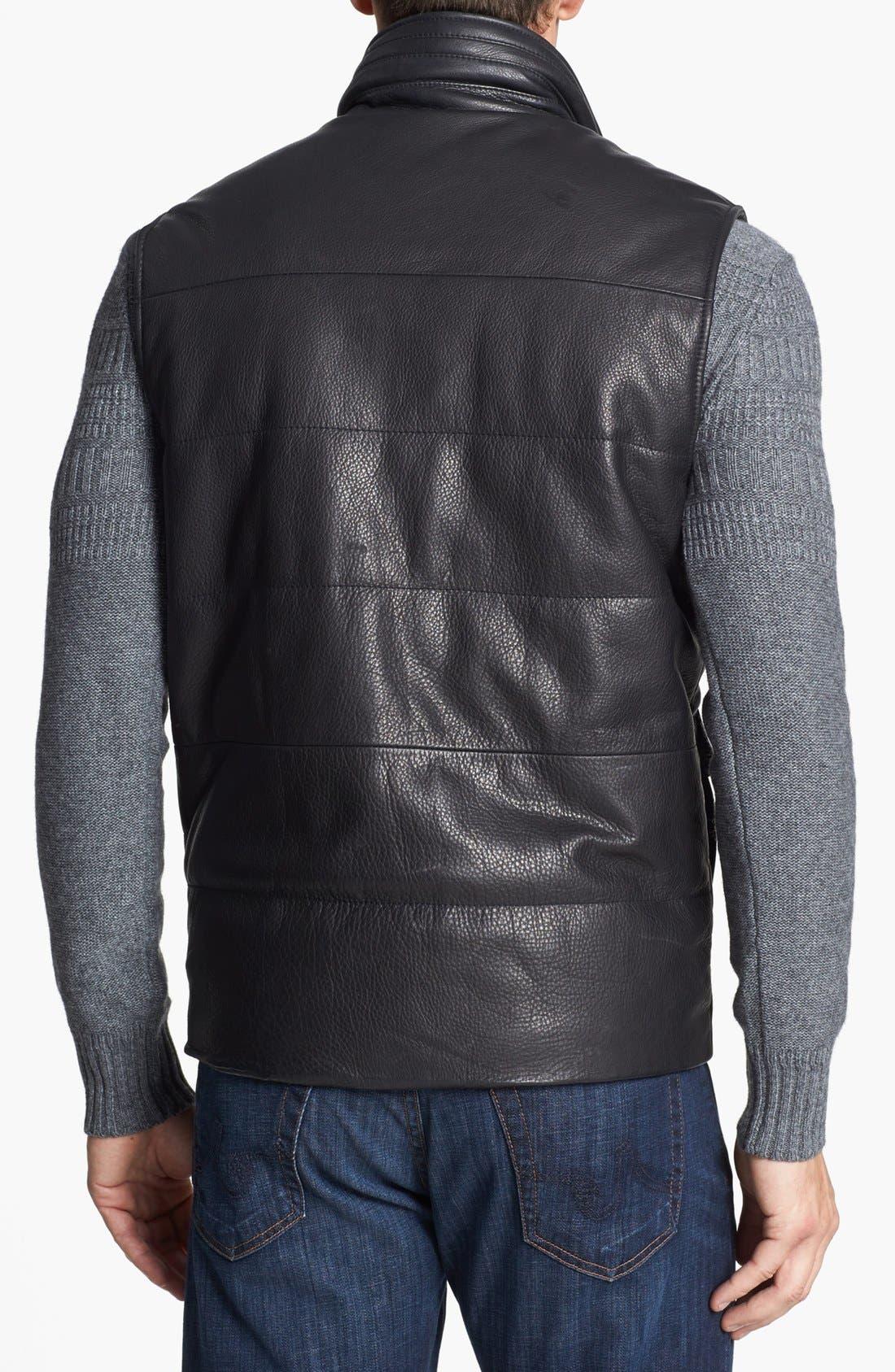 Leather Vest,                             Alternate thumbnail 2, color,                             Black