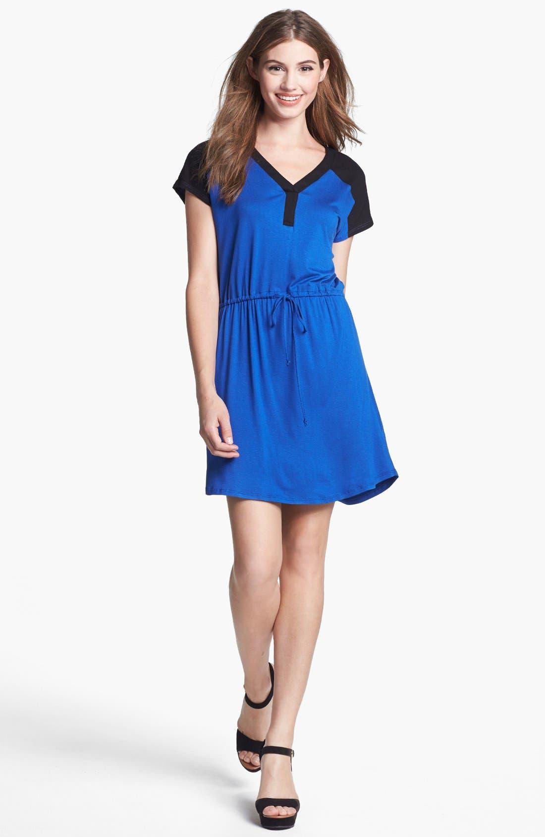 Main Image - Olivia Moon Contrast Yoke Drawstring Dress (Regular & Petite)