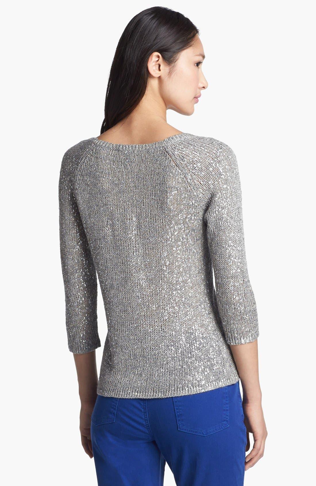 Alternate Image 2  - Eileen Fisher Scoop Neck Shimmer Sweater
