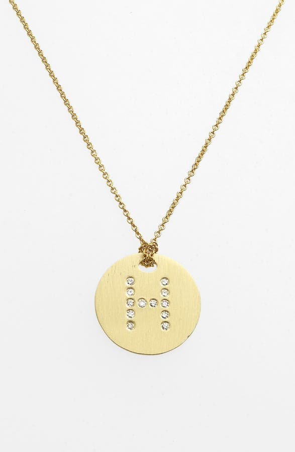 Roberto coin tiny treasures diamond initial disc pendant main image roberto coin tiny treasures diamond initial disc pendant necklace aloadofball Images
