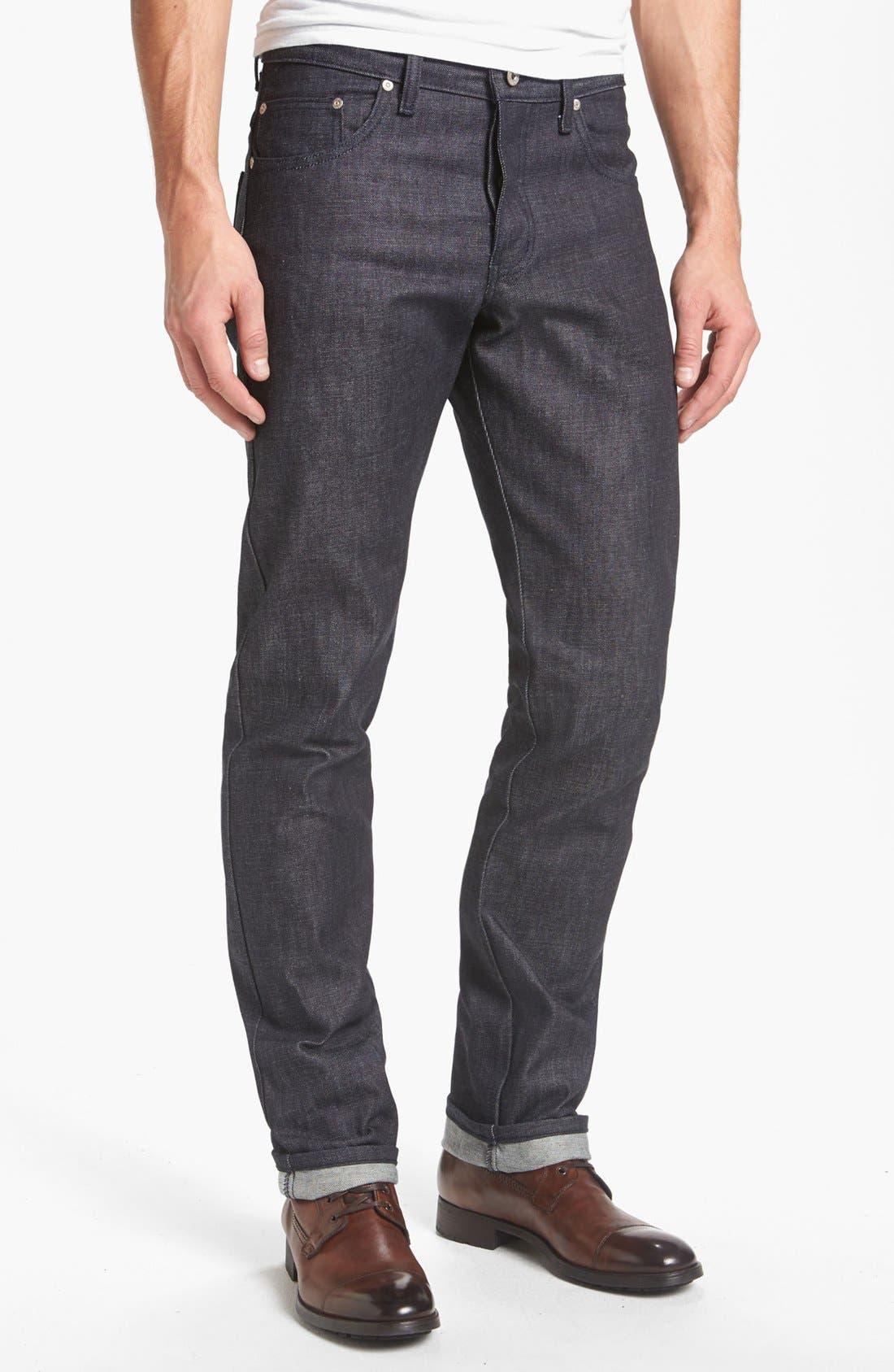 Alternate Image 2  - Naked & Famous Denim 'Slim Guy' Straight Leg Raw Jeans (Natural Denim) (Online Only)