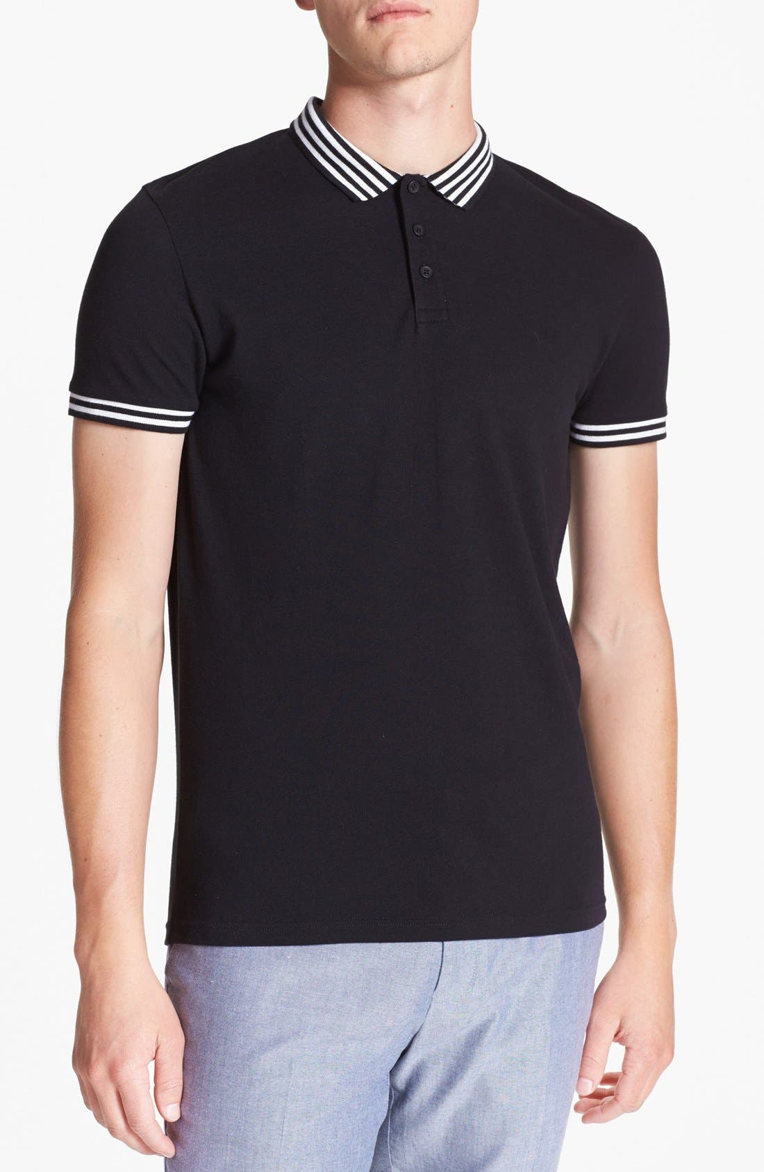 Main Image - Topman Stripe Tipped Piqué Polo