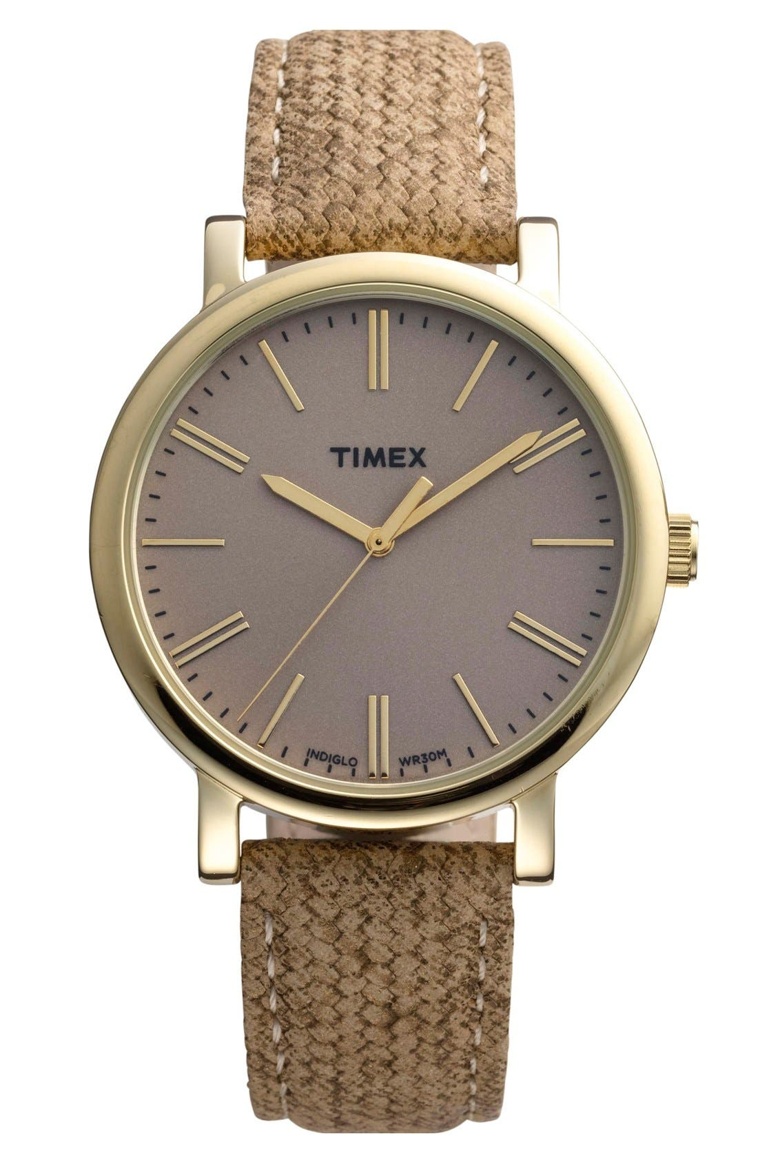Main Image - Timex® Braid Pattern Leather Strap Watch, 38mm