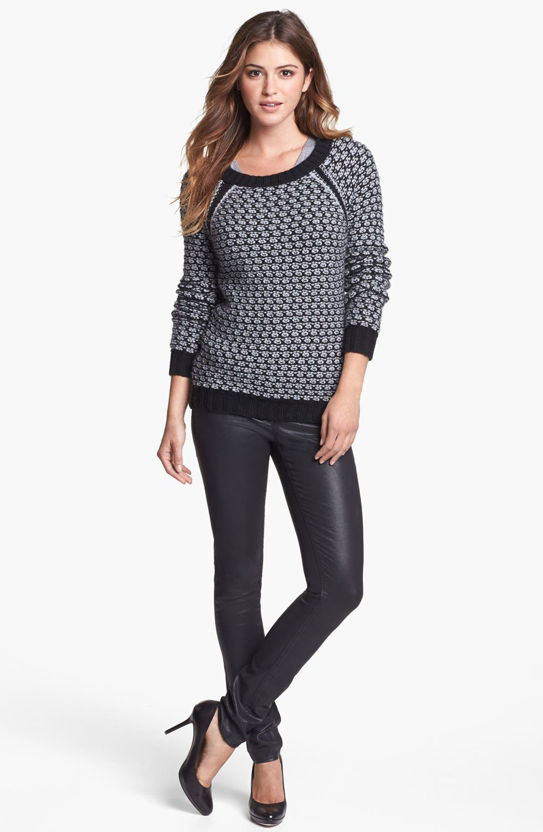 Alternate Image 2  - Two by Vince Camuto Side Zip Honeycomb Knit Sweater