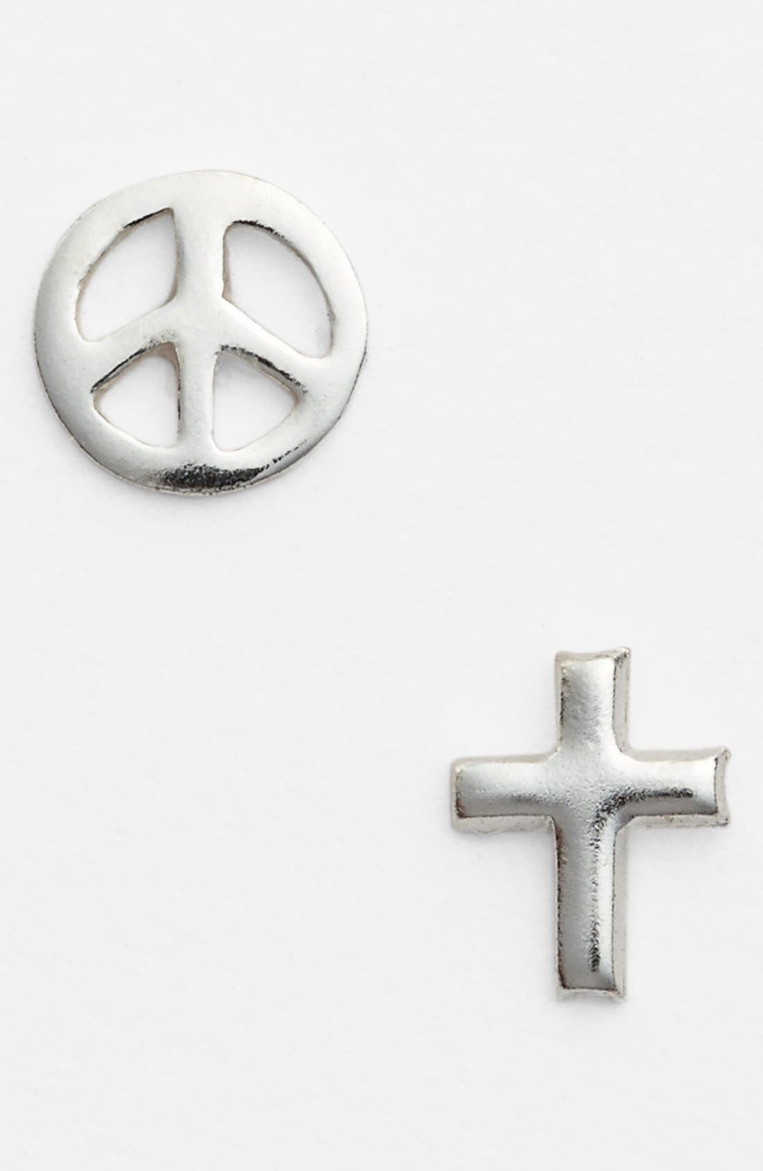 Alternate Image 1 Selected - Tomas Sterling Silver Cross & Peace Sign Stud Earrings (Juniors)