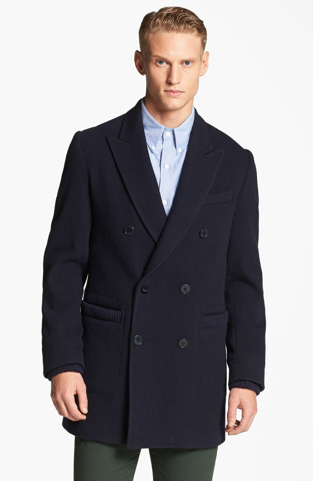 Alternate Image 1 Selected - Band of Outsiders Double Breasted Overcoat