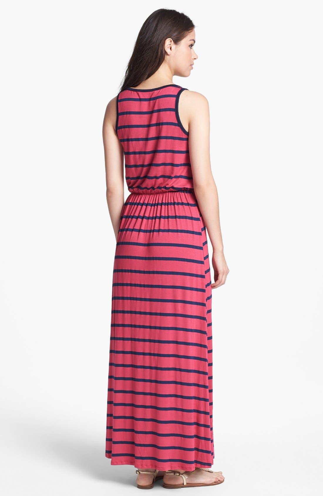Alternate Image 2  - Everleigh Zip Front Stripe Maxi Dress (Petite)