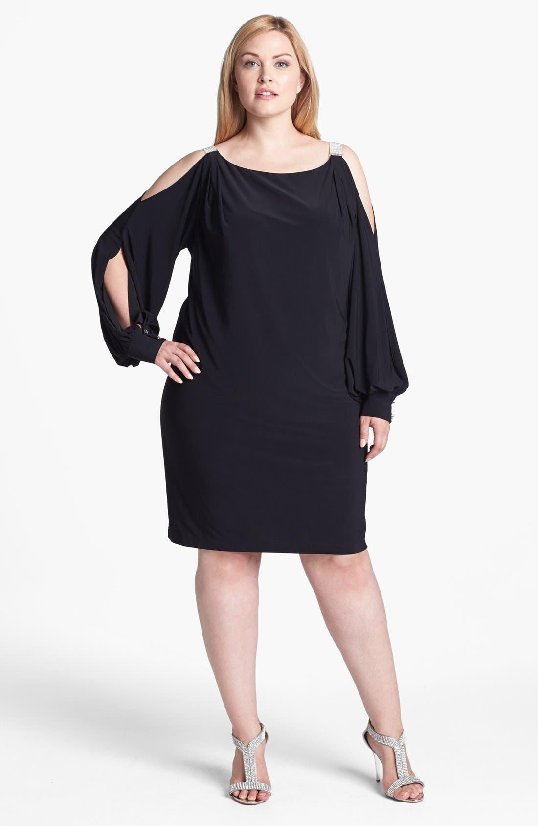 Main Image - Xscape Embellished Cold Shoulder Jersey Dress (Plus Size)