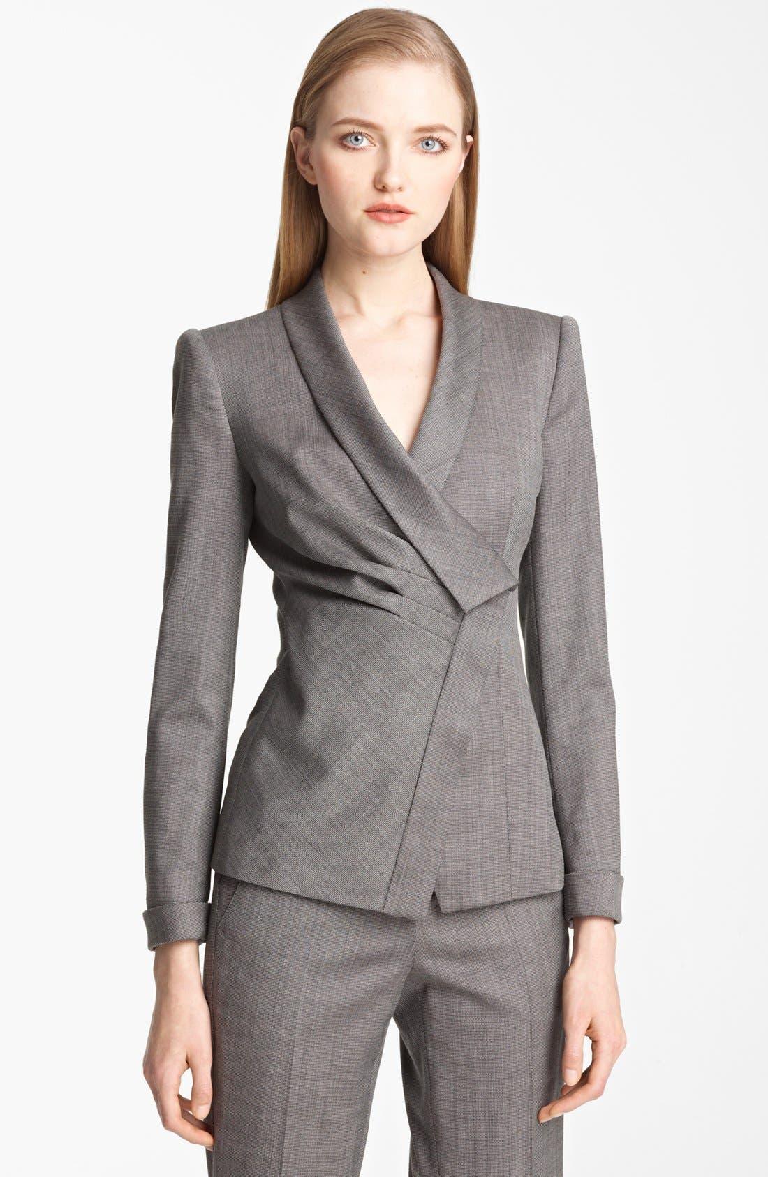 Main Image - Armani Collezioni Asymmetrical Micro Herringbone Jacket