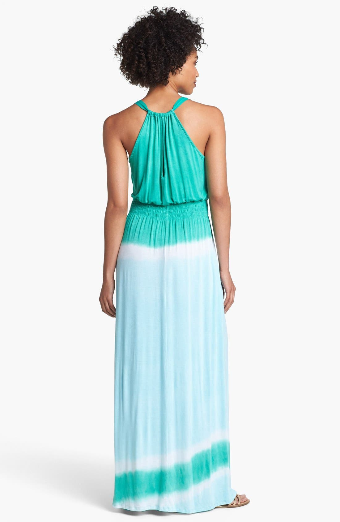 Alternate Image 2  - Loveappella Colorblock Maxi Dress (Petite)