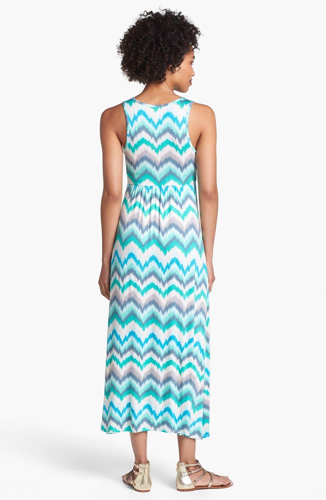Alternate Image 2  - Loveappella Zigzag Stripe Maxi Dress (Petite)