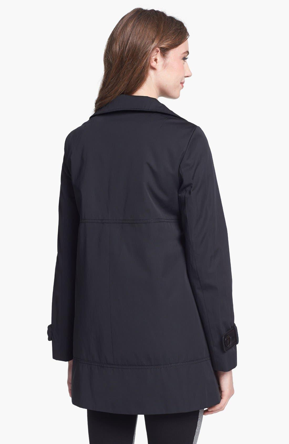 Alternate Image 2  - Ellen Tracy Faux Leather Trim Raincoat (Regular & Petite)