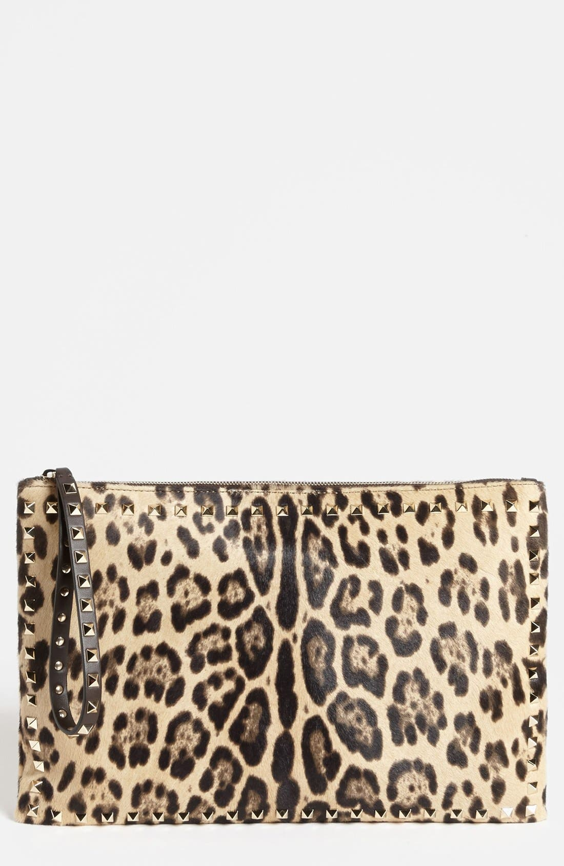 Alternate Image 1 Selected - Valentino 'Rockstud - Cavallino Flat' Calf Hair Clutch