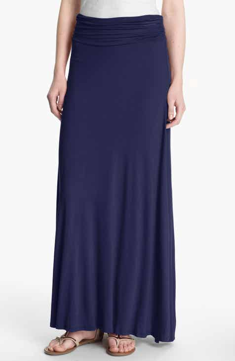 9d47ff683 Bobeau Ruched Waist Side Slit Maxi Skirt (Regular & Petite)