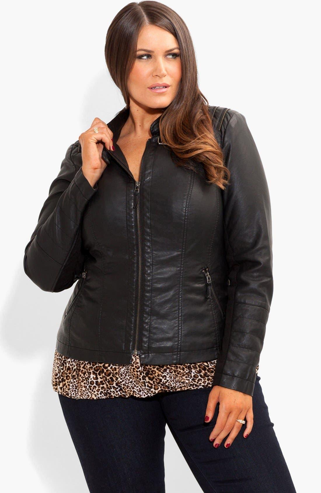 Alternate Image 1 Selected - City Chic Faux Leather Biker Jacket (Plus Size)