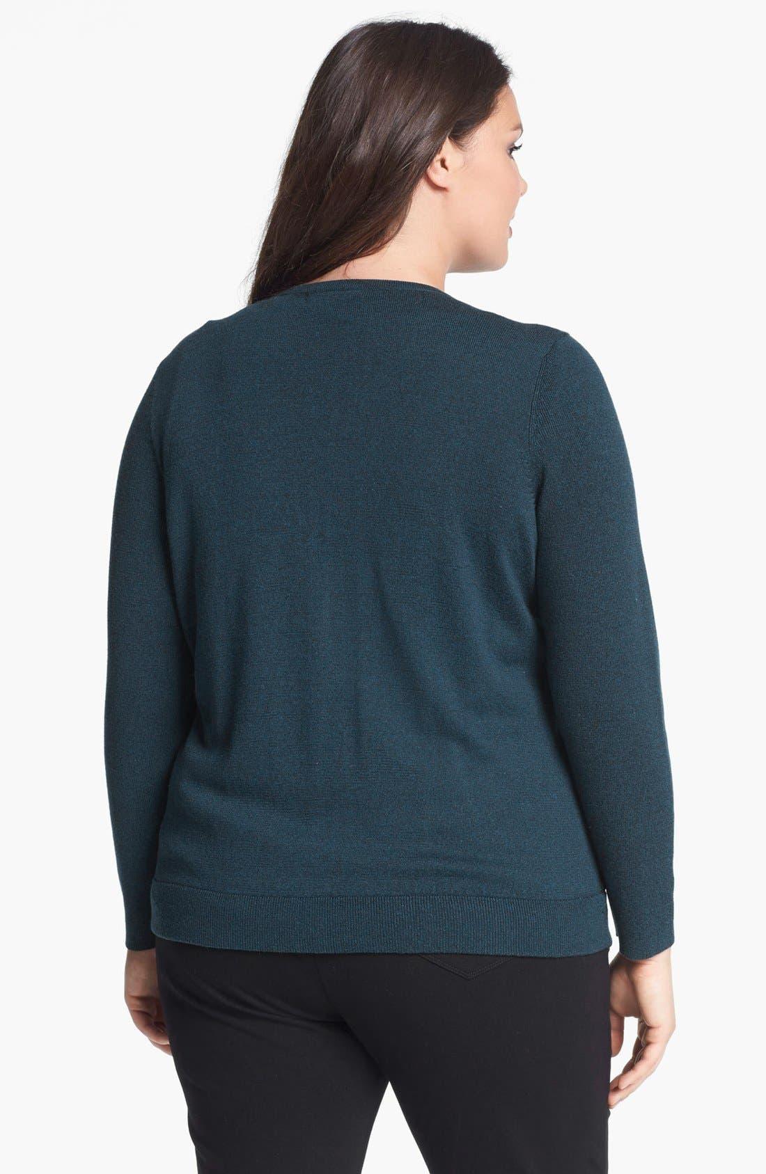 Alternate Image 2  - NIC+ZOE Lace Front Sweater Jacket (Plus Size)