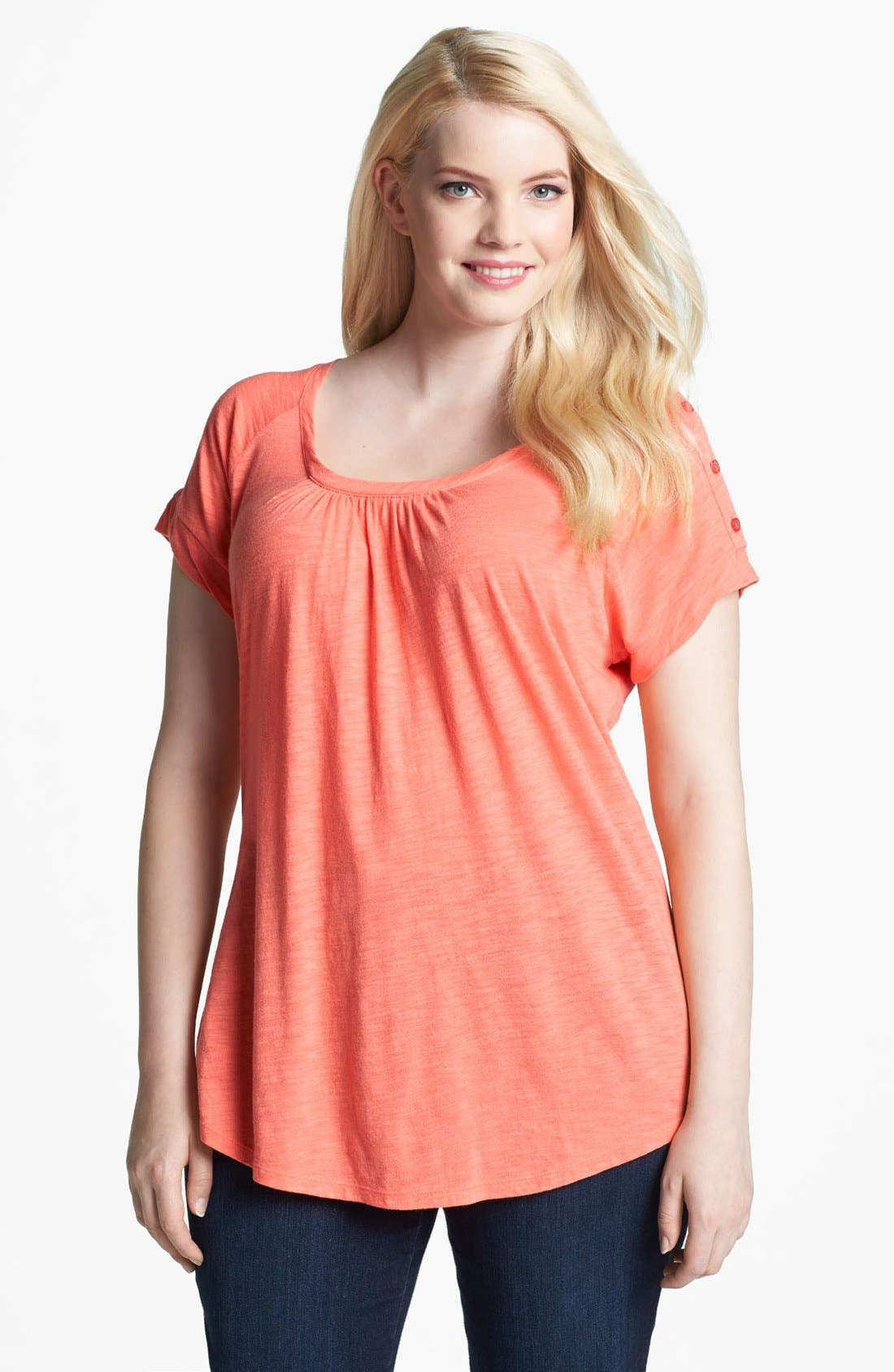 Main Image - Lucky Brand 'Alanna' Button Detail Top (Plus)