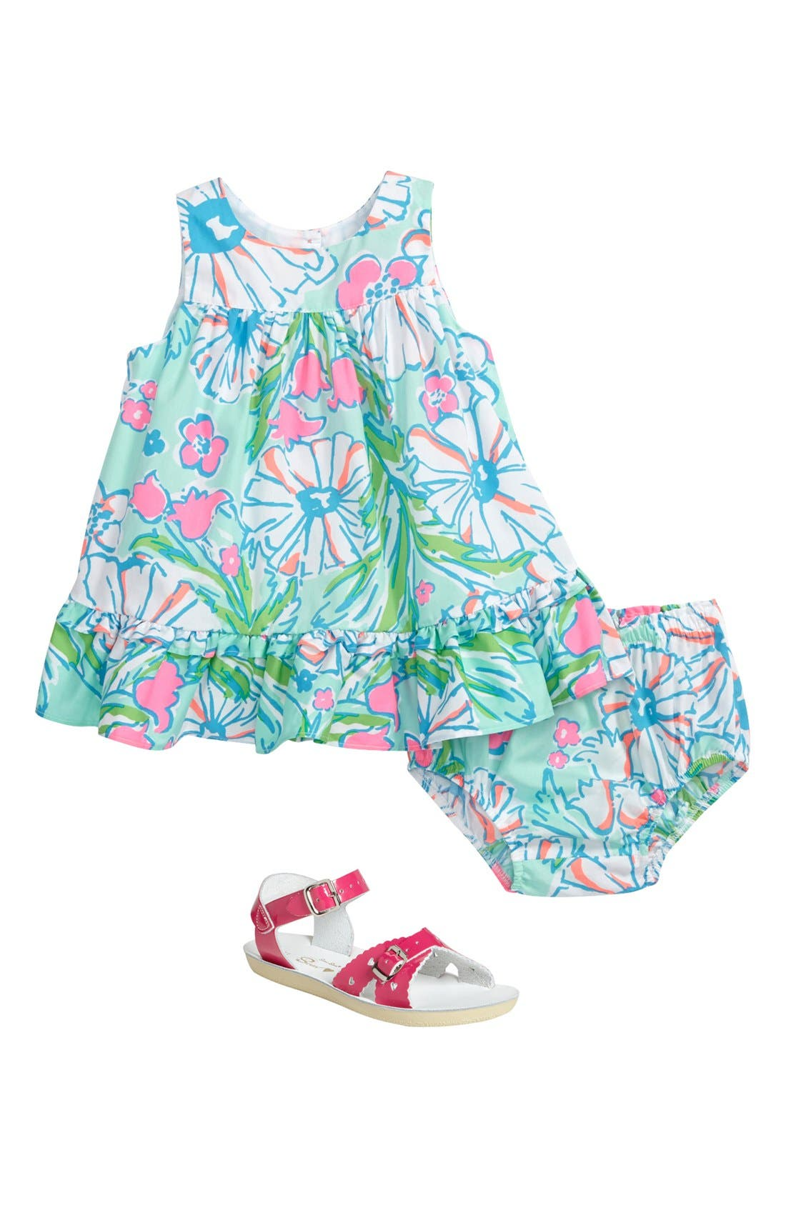 Alternate Image 2  - Lilly Pulitzer® Dress & Bloomers, Hoy Shoe Salt-Water® Sandal (Baby Girls)