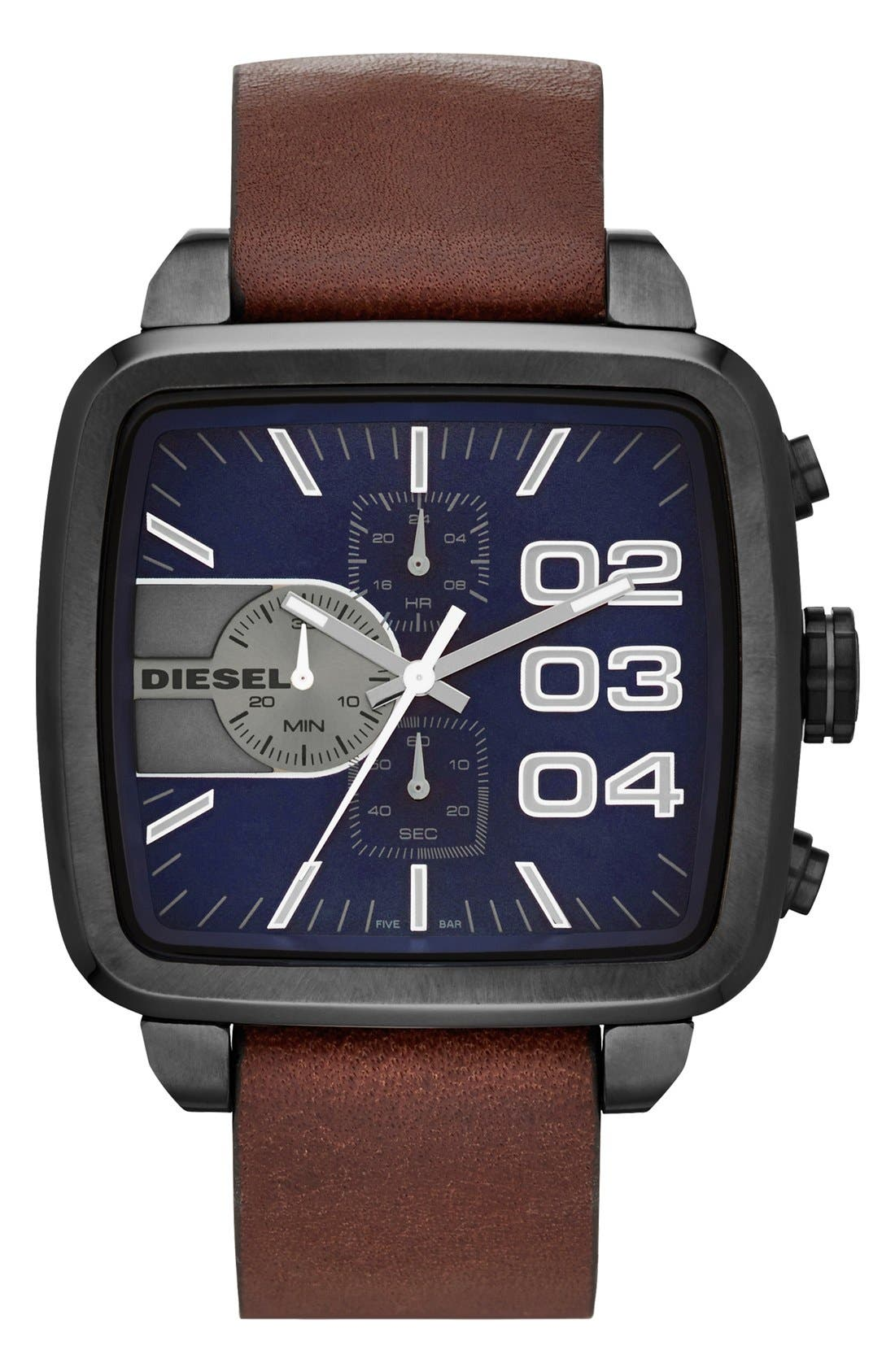 Main Image - DIESEL® 'Square Franchise' Leather Strap Watch, 57mm x 48mm