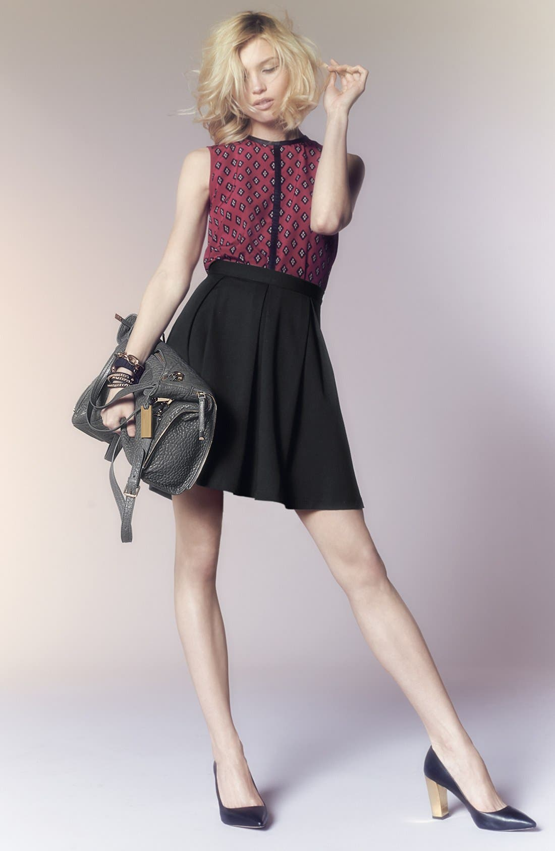 Alternate Image 6  - Vince Camuto Faux Leather Trim Print Shell